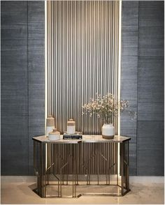 Contemporary console tables are essential to design pieces in any modern interior. This modern furniture is often found in entryways and hallway, the support fo Lobby Interior, Interior Walls, Interior Design Living Room, Living Room Designs, Interior Decorating, Console Design, Flur Design, Lobby Design, Luxury Home Decor