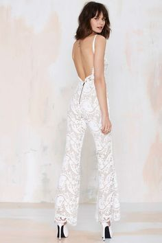 Stone Cold Fox Elliot Lace Flare Jumpsuit at Nasty Gal