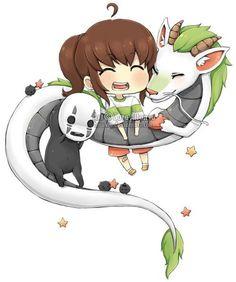 Kawaii Spirited Away chibis!  There's the faceless spirit, Chihiro, and Ryuu.