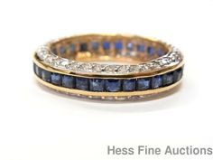 14k Gold 2.75ctw Channel Set Natural Sapphire Diamond Eternity Band Ring Sz 7.25 #EternityBand