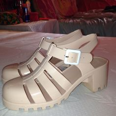 High Wedge Jellies Size 7 very light beige creamy High top wedges from Rue 21. Barely worn. Great condition. Very cute. Rue 21 Shoes Wedges