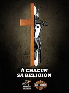 À chacun sa religion : une campagne de publicité de Prémont Harley-Davidson signée 32 MARS qui associe les références religieuses à celles du monde de la moto et de Harley-Davidson. Bonne exécution ? Elle fait discuter en ligne en tout cas d'un côté comme de l'autre!