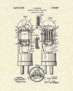 Vacuum Tube 1929 Patent Art Print By Prior Art Design