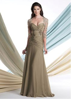 Glamorous Tulle & Chiffon Queen Anne Neckline Full-length Mother of the Bride Dress # 6th Anniversary