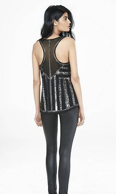 Sequin And Mesh Embellished Racerback Tank | Express