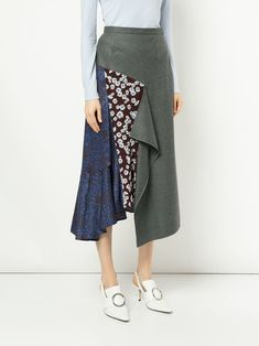 9f54aab13f9 Le Ciel Bleu asymmetric pattern mix skirt Мода В Стиле Бохо