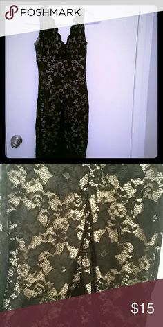 Dress Black lace with nude lining dress hot Miami styles HMS Dresses
