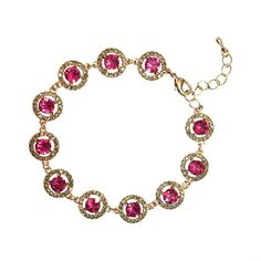 Bracelet with white and pink crystals Miranda Fucsia Black Diamond bracelet by Lily and Rose.   Information Bracelet with white and pink crystals of various sizes.    Length: 17 cm with 3 cm   extension   Width: 10 mm   Crystals:   1.4 mm Black Diamond (Oktant, Austria)   5.3 mm Fucsia (Swarovski, Austria)