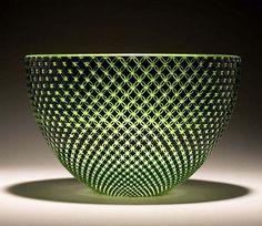 Green Diamond Bowl - Carrie Gustafson : Glass Artist