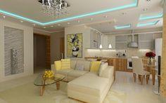 Светлая мебель, потолок с подсветкой