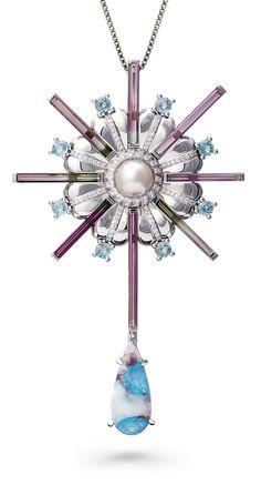 SNOWFLAKE PENDANT by VOTIVE •  Paraiba, Pearl, Blue Zircon, Pink Tourmaline, White Diamonds, 18k White Gold