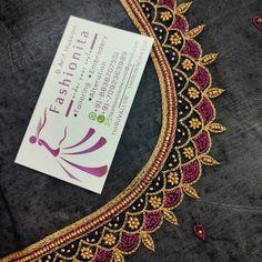 Chudi Neck Designs, Kids Blouse Designs, Simple Blouse Designs, Blouse Designs Silk, Bridal Blouse Designs, Hand Designs, Embroidery Blouses, Aari Embroidery, Embroidery Flowers Pattern