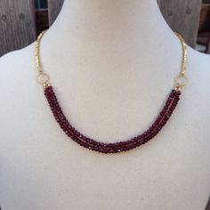 Faceted Garnet and Vermeil Necklace 17 inch by EastVillageJewelry Beautiful handcrafted jewelry ~ great customer service  Free shipping within the U.S. www.eastvillagejewelry.etsy.com