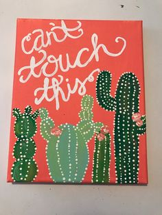 A perfect gift to give a little laugh! I mean who doesnt love this cactus canvas?  It is an 8 x 10 stretched canvas, hand painted with acrylic paint to create a fun, funky cactus design! Perfect to add some color and fun to any space!  WHAT YOU WILL RECEIVE: This is a made to order item which means that after you purchase I recreate the design you see in the picture example. You will receive a painting that has the same design, but may vary slightly because each piece is custom hand painted…