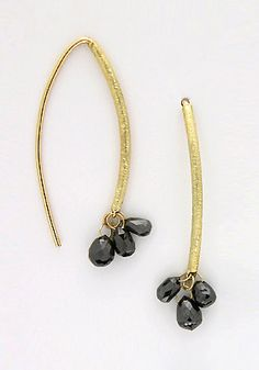 Barbara Heinrich's navette shaped earrings with black diamond briolette's are perfect day or night!