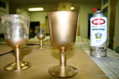 DIY golden goblets for the story of the Writing on the Wall in Daniel. Use Dollar Tree plastic wine glasses. Kidfrugal: Writing on the Wall, Part 2