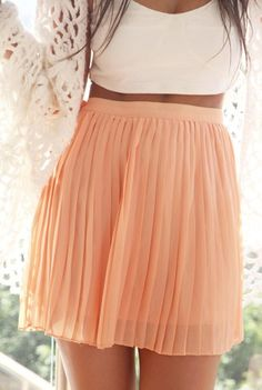 Peach pleats. Crop top.