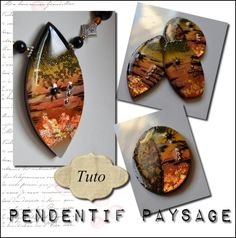 Pendentif paysage : a tutorial for a landscape pendant made with polymer clay, beads, foil, and resin