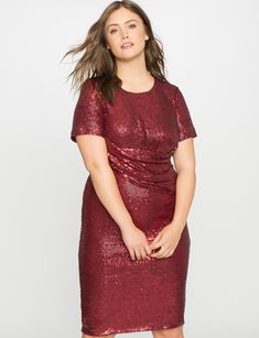 Studio Sequin Draped Dress Wine