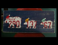 Rustic Polar Bear Trio on Blue - Santa Hat Christmas Recycled License Plate Art - Salvaged Wood - Upcycled Artwork