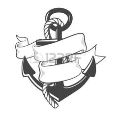 tattoo designs:  Nautical anchor with rope and ribbon