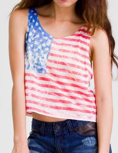 Retro American Flag Dyed Top - $29.90
