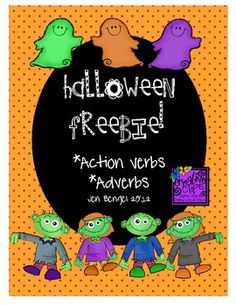 {freebie} a Halloween freebie about action verbs and adverbs for your literacy centers this week:)