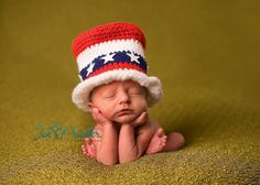 4th of july baby hats