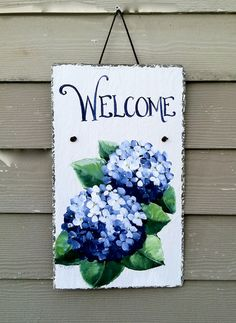 Hand Painted Welcome Sign Beautiful Blue by DancingBrushes on Etsy, $49.00