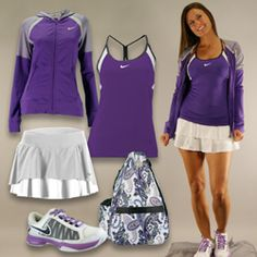 The Ultra Violet collection: The Nike Strappy Knit Tank, The Nike Terry Hoody, Nike Zoom Courtlite 3 tennis shoe, and Jet Pac Purple Paisley tennis bag! #MidwestSports #Nike