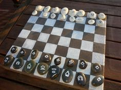 My DIY Outdoor Chess/Checkers Board Game: http://myheartnmyhome.blogspot.com.au/2013/11/my-diy-outdoor-chesscheckers-board-game.html