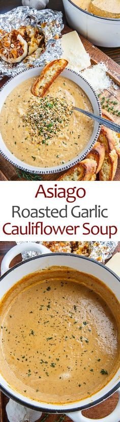 [CasaGiardino]  ♛  A creamy roasted garlic cauliflower soup with plenty of asiago cheese and a crunchy popped quinoa.