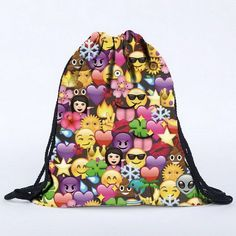 JIARUO 2017 New Fashion Canvas Emoji Backpack Men Women Rucksack For Girls  Summer Beach Bag Graffiti Printing Children Backpack 69b04427c8bf0