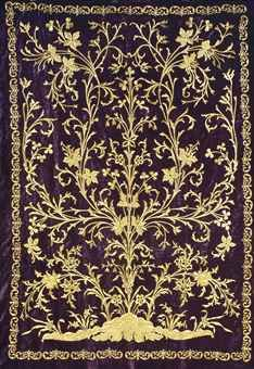 AN OTTOMAN GOLD THREAD EMBROIDERED HANGING PANEL