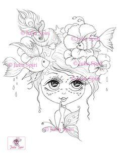 Digital stamp Digi Sea FishFlowers Butterfly Girl Big