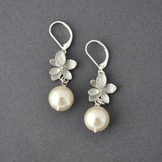 Pearl Orchid Earrings Pearl Earrings Wedding by myjewelrystory, $18.00