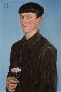 boy style, bowl cut, flower, brown, corduroy from: cinoh. Otto Dix . Autoritratto con garofano . 1912 .