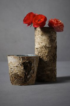 split birch vases.  could make for great centerpieces for a spring/summer gathering.
