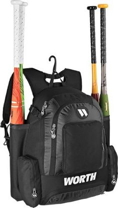 Black Worth Baseball Softball Backpack Gear Bag Holds 4 Bats Separate Compartments Color Rip Stop