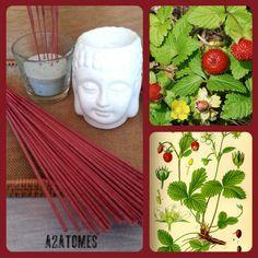 Encens parfum fraisier sauvage en bâton aux Huiles essentielles naturelles - pochette de 10 bâtons de la boutique A2ATOMES sur Etsy