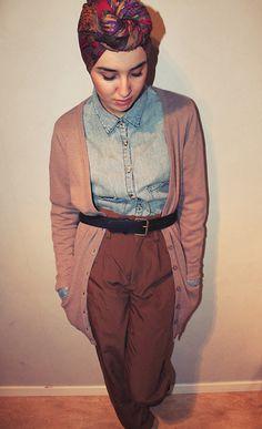 6e4fa595ad Gina Tricot Pants, Bikbok Cardigan, Bikbok Jeans Shirt, Vintage Turban Scarf