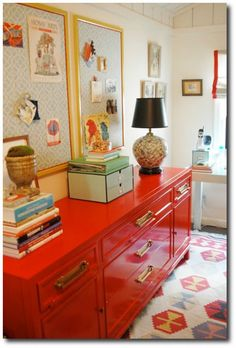 Stunning Asian credenza painted in Rustoleum's 'Saftey Red' Spray Enamel Painted Furniture, Painted Funiture Paint Ideas, Hollywood Regency Decorating, Bold Paint, Glossy Paint Colors,