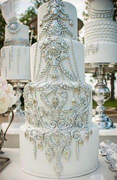 Wedding Ideas by Colour: Silver Wedding Cake Decorations Elegant Wedding Cakes, Elegant Cakes, Beautiful Wedding Cakes, Gorgeous Cakes, Pretty Cakes, Amazing Cakes, Cake Wedding, Silver Wedding Cakes, Colourful Wedding Cake