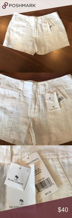 Island Company 🌴 White Linen Shorts Brand new with tags! Size XS but would fit a small. Island Company Shorts