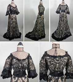 stunning early edwardian formal gown in black beaded lace