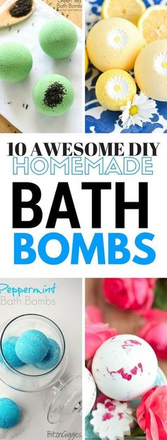 A list of the 10 most awesome diy bath bombs recipes that are easy to make with a variety of different ones.