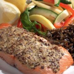 Mustard-Crusted Salmon    This updated French bistro dish makes a simple dinner any night of the week. You might want to consider doubling the batch and using the remaining salmon in a tossed salad the next day.