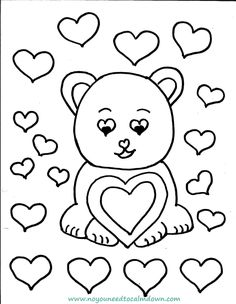 Cute Bear Valentines Day Coloring Page