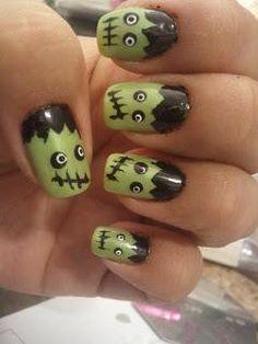 DIY Halloween Nails : Frankenstein Nails