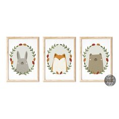 Woodland Nursery Animal Prints | Rabbit | Bear | Fox Woodland Nursery Prints, Fox Nursery, Animal Nursery, Nursery Wall Art, Fox And Rabbit, Kids Room Wall Art, Nursery Inspiration, Hand Designs, Wall Art Sets